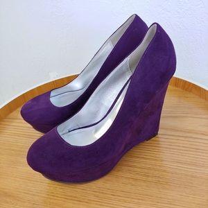 Qupid Purple Suede Platform Wedge Heels